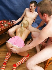 Drunk Inga gets busy taking three cocks from every angle