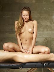 Nude fashion model rides cock