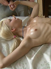 Sexy blonde enjoys massage