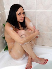 Extremely hot European brunette loses her anal virginity on the bathroom floor
