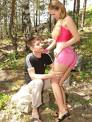 Horny teen couple getting freaky in the great outdoors