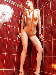 Excited girl removes black top then panties on posing in the shower.