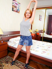 Very Hairy Blonde Teen Shows her Cameltoe
