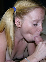 Freckled Face Petite Teen Gives Wet And Messy Blowjob