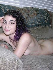 Punk Rock Metalhead Teen Babe Wearing Glasses Shows Hairy Pussy - Lydia Model
