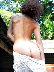 Callista B strips outdoors as she shows off her curvy hips and beautiful tits.