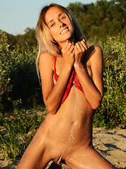 Sexy blonde at the sea