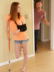 Horny hot redhead Pepper Hart coaxes her stepbrother to help her through her injury by sucking and fucking his big dick