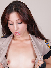 Horny police girl fingering her pussy