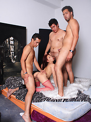 Teen latina in pink stockings gets three cocks