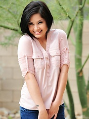 Kamili gets rid of her short shorts and a cute pink shirt to let her undies slide down her long legs