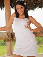 Thalia Mata wears tight white jeans and then masturbates using her fingers
