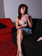 Horny latin girl tasting her new sex toy