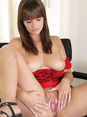Big tittied Nubile babe satisfies her tight pussy with the powerful magic wand