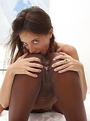 Two sexy skinny models in black-on-white scene