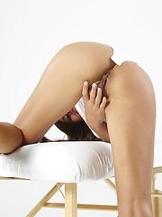 Hegre art model showing her wet pussy lips