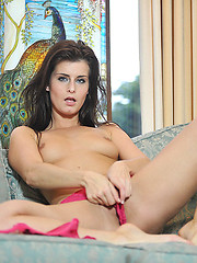 Teen beauty takes off her pink panties for solo action