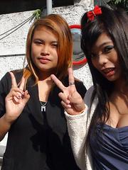 Pair of horny slutty Thai amateurs tag team lucky male tourist