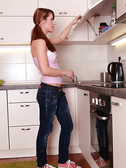 Sexy teen fucked and creampied in the kitchen