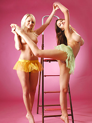Playing on the ladder with two young bombshells is sexy and exciting.