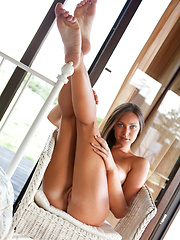 Sophia fresh and nubile body with delicate tan lines tracing her intimate's soft contours makes an awesome view by the veranda.