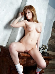College girl with red hair a fun side , strips down to classy shoes and nothing else to reveal her sexy.