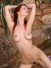 Sizzling redhead with smooth pale skin and evocative poses.