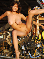 Motorcycle girl is back, with a pretty bottom and big jugs that all the bikers love.