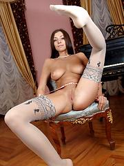 Simone posing in stockings