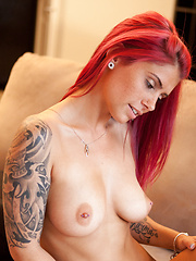 Cute girl Hailey shows her perfect tits and sexy tattoos
