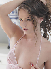 Hot babe with a pink dildo