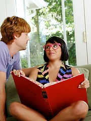 Little bookworm with glasses gets her pussy played with and then goes down on this guy