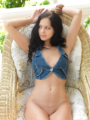The seductive Lydia with her hypnotic gaze as she strips her denim vest and flaunts her smoking hot body with curvy hips and spreads her sexy lean legs baring her delectable pussy for her debut series.