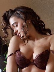 Penelope strips her sexy brown   lingerie baring her perfectly   toned body with gorgeous puffy   breasts, and smooth, shaven pussy   all over the sofa.
