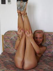 Blonde girl Casey takes hard cock