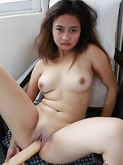 Rochelle is pleasuring her nubile pussy with a big dong after school