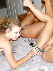 Three chicks play with huge red dildo