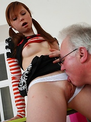 Get a load of the tricky old teacher and Miriam, getting it on bent over the desk. There's no stopping this guy!