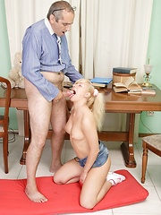 Teen blondie and her ugly teacher in shameless action.
