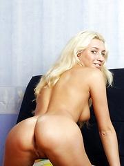 Hot blonde bombshell caresses her shaved teenage coochie