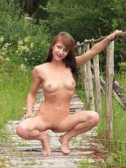 Gorgeous fresh babe show her pink surrounded by wilderness. Scent of wild flowers, horny feelings as well fantastic outlook.