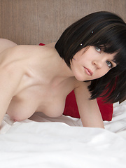 Slim body lines, silky skin, tiny tits, deep blue eyes. Sad eyes of love. Nude model give insight in beauty of the female body.