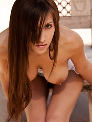 April ONeil - takes off her white top
