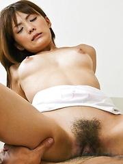 Nagisa Aiba Asian licks and sucks shlong before is fucked by it