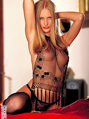 Dominique Dane - Sexy lace black lingerie and a moroon chair