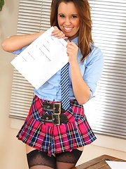 Michelle teaches a lesson in school uniform & mini skirt