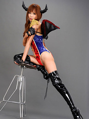 Sayuri Ono Asian in long boots is batwoman waiting for victims