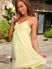 Natalia is sheer perfection in and out of her short yellow summer dress and stockings.