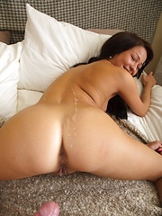Cutie practicing with a sex toy before a real hard cock