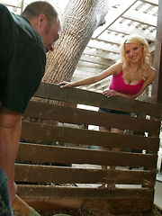 Busty blonde hay ride